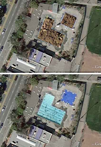 "WILLARD POOL IS FILLED UP WITH DIRT: A reader reports that ""Willard Pool has been filled in. Since it was 'de-funded' the empty, unattended pool was seen as a hazard, and this was the solution."" The top picture is his Photoshopped guess at what the site now looks like from a satellite.  The satellite picture he started with is below."