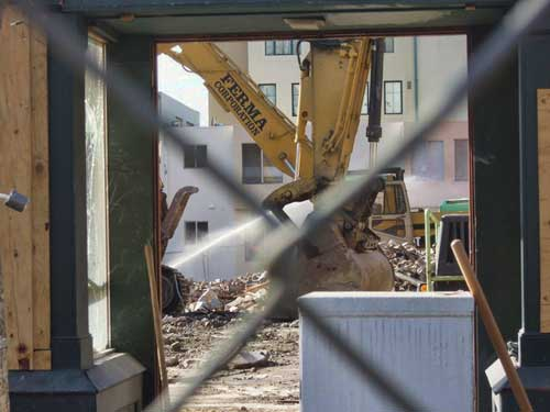 As last Sequoia rubble is removed behind Raleigh's doorway, work will begin to re-open what is now nothing.