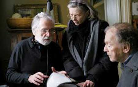 Director Haneke and stars Riva and Trintignant