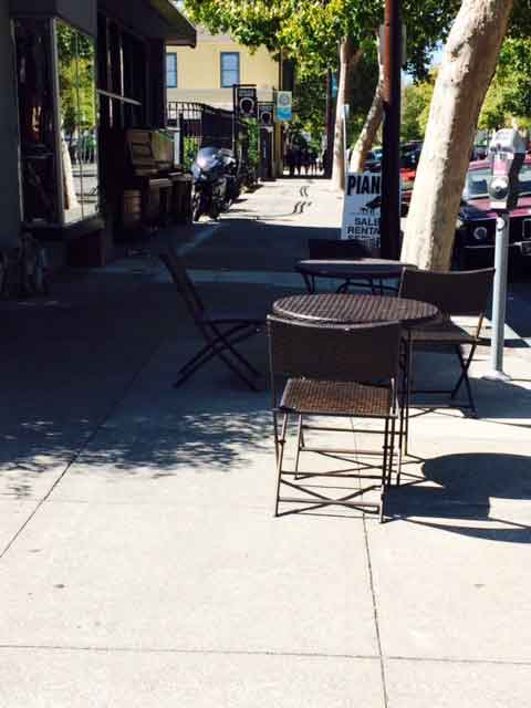 Permit-free tables and chairs are not considered problematic by the proposed new sidewalk regulations; just people with too many possessions.