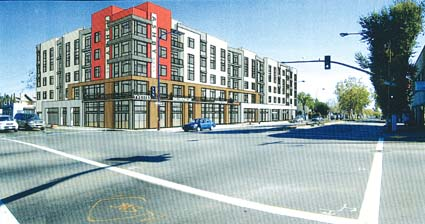Ali Kashani's design for the proposed five-story condo complex for the corner of San Pablo and Ashby avenues, seen here in an artist's rendering, was criticized by members of the Design Review Commission as better suited for the neighboring city of Emeryville.