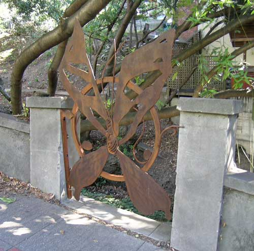 The butterfly gate on Le Conte Ave., right, is the latest installation in the amphitheater improvement project.