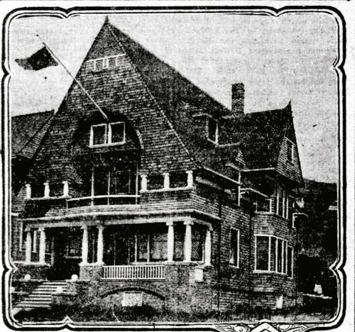 The first Theta Xi house at 1739 Euclid Ave., left, was designed by Thomas D. Newsom. (San Francisco Call).