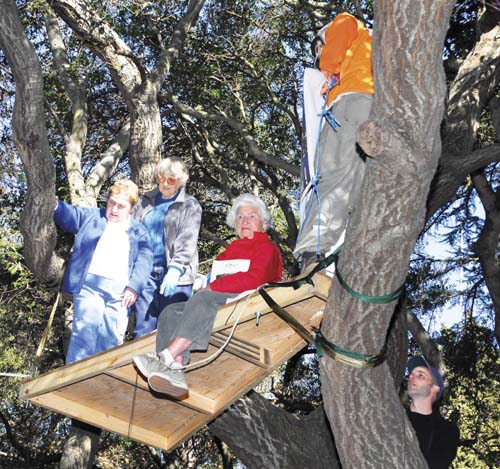 Former Mayor Shirley Dean, City Councilmember Betty Olds and Save the Bay co-founder Sylvia McLaughlin took to a suspended platform Monday to join the tree-sitting protesters opposed to cutting a grove of oaks and other trees to make way for a $125 million athletic facility along the western wall of UC Berkeley's Memorial Stadium. They came down later in the afternoon. Photo by Richard Brenneman.