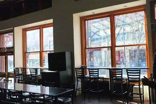 Sleek new lookout at Pappy's, Saturday, retains Blake's view of the Avenue, but not from tables.