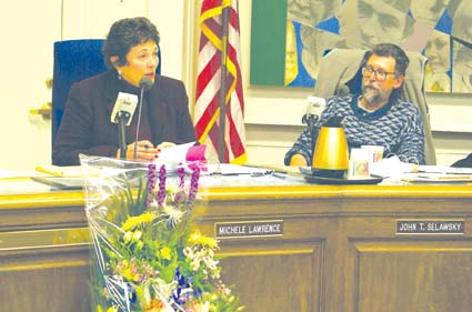 Superintendent Michele Lawrence presides over her last school board meeting Wednesday. Photograph by Mark Coplan.