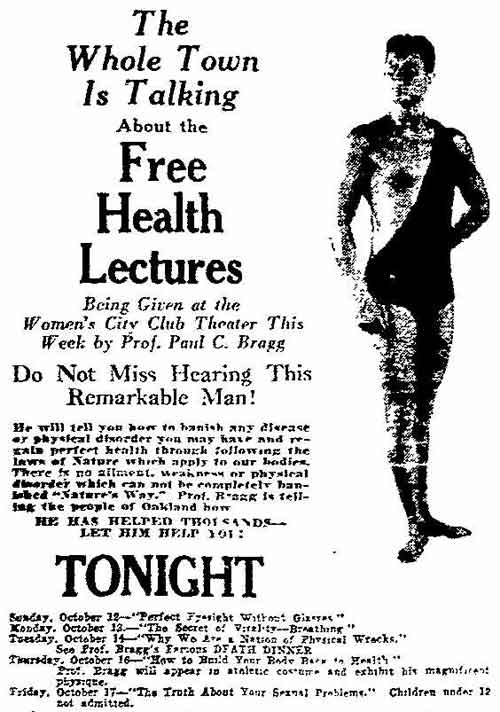 Oakland Tribune advertisement, October 12, 1930, for a Paul Bragg