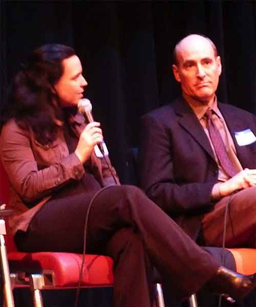 Restaurateur Amanda West answered a question next to City of Berkeley Economic Development director Michael Caplan during the second panel.
