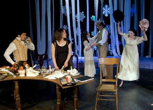 L-R Aaron Lindstrom as Valentine Coverly, Jody Christian as Hannah Jarvis, Alona Bach as Thomasina Coverly, Paul Stout as Septimus Hodge, and Rachel Ferensowicz as Chloe Coverly.