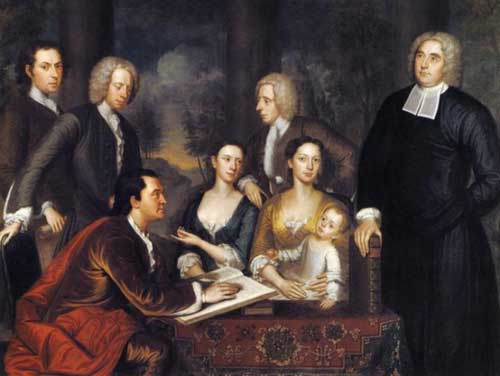 """The Bermuda Group"", painted by John Smibert from 1729 to 1731, belongs to the Yale University Art Gallery.   Dean Berkeley is at left.  His wife, Anne, sits at center right, holding their son, Henry.   John Smibert, the painter, is at the far left.  John Weir used the image of Berkeley in this painting as the basis for his portrait of George Berkeley."