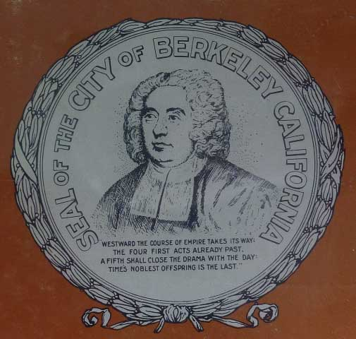 The official seal of the City of Berkeley remains this drawing of Bishop Berkeley, with the pertinent quote from his poem inscribed below.