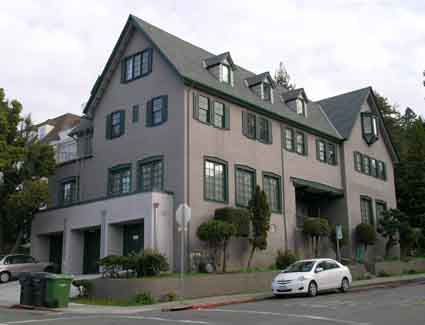 Phi Omega Pi house, 2601 Le Conte Ave., was designed by B. Reede Hardman in 1928.
