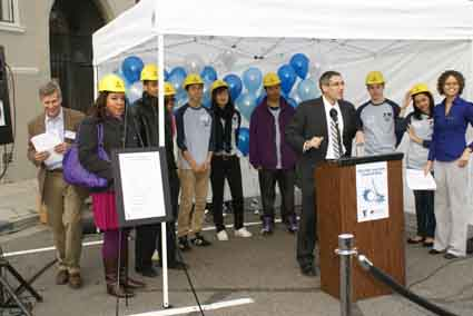 Berkeley-Albany YMCA President Fran Gallati was joined by members of the Teen Task Force as he spoke at a ceremony Monday for YMCA Teen Center's groundbreaking. Located at a former PG&E service station at 2111 Martin Luther King Jr. Way, the building was handed over to the Berkeley YMCA in October 2007 to be developed into a safe place for teenagers to spend time after school. 	The $2.1 million, 8,000-square-foot building is PG&E's largest corporate charitable contribution to date. 
