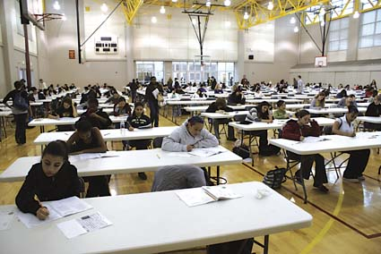 Berkeley High Sophomores take the state high school exit exam in the school gymnasium Tuesday. Photograph by Mark Coplan.