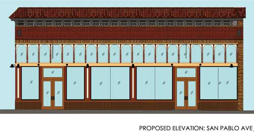 Plans for the San Pablo Avenue façade of the building presented to the Commission by Jim Novosel of The Bay Architects.  The façade above the light-colored horizontal band is largely intact; the area below the arched windows will be rebuilt as uniform storefronts.