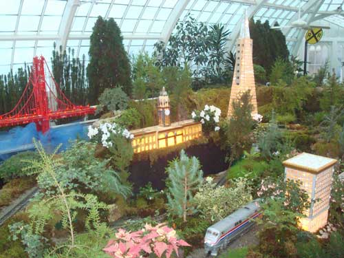 Model trains and miniature San Francisco landmarks create a diverting landscape in the western end of the Conservatory of Flowers in Golden Gate Park through April 19.