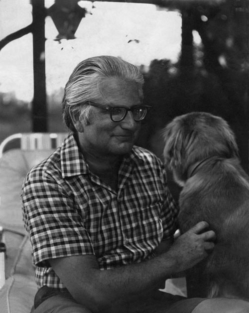 James Schevill and his golden retriever Emily Dickinson, circa 1980.