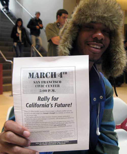 Students at Berkeley City College gear up for the March 4 Day of Action Wednesday. BCC will send three busloads of students and 50 students by BART to a 5 p.m. rally Thursday at the Civic Center in San Francisco.