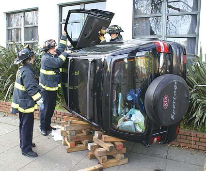 An unlicenced 16-year-old Berkeley High student took his mother's SUV for a drive without permission Wednesday morning, hit a parked car and tried to flee the scene, but flipped the vehicle over and smashed into the school building. See story, page five.