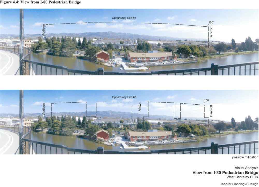 The dotted lines show two versions of building heights proposed for the Aquatic Park area under the draft West Berkeley Plan.