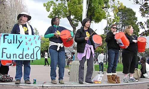 Berkeley public school teachers perform in downtown Berkeley Thursday.