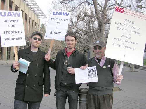 On the left are two graduate students in Geography, both members of the UAW union which represents teaching assistants and readers. At right is a member of the Coalition of University Employees union.