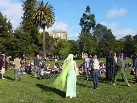 The sun came out as revelers arrived at People's Park.