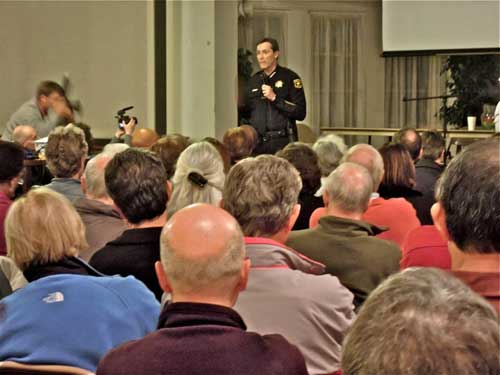 Chief Meehan, Thursday night, at Northside hills murder forum--winning hearts and minds.