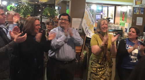 Councilmember Sophie Hahn, Mayor Jesse Arreguin and Kate Harrison celebrate on Tuesday night