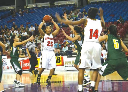 Berkeley High's Lady Jackets buzzed by Kennedy-Sacramento Saturday, 72-53, to win the CIF Northern Division I final. They'll face Poly Long Beach Saturday at 6 p.m. at the Arco Arena, Sacramento, in the state championship game. Senior Jasmine Perkins, who will play for Washington State next year, scored 28 points against Kennedy. Airikah Warren scored 16 points and Camila Rosen scored 18. After seven years as assistant coach, Cheryl Draper is finishing her first year as head coach. Pictured are Warren, No. 25, and Charise Coberson, No. 14.