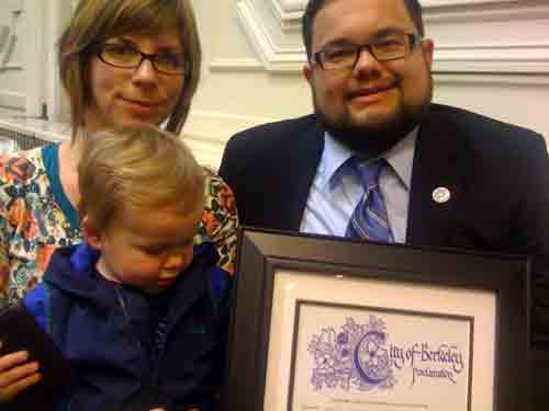 Frank and Jody Cruz, parents of Zachary Michael Cruz, who was killed in a pedestrian accident in 2009, with Zach's baby brother Miles at the Berkeley City Council Tuesday. The council has named March Zachary Cruz Pedestrian Safety Month in honor of Zachary.