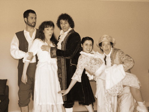 The cast of The Marriage of Figaro: Steven Hoffman (Figaro), Eliza O'Malley (Susanna, Berkeley shows), Joaquin Quilez (Count Almaviva), Meghan Dibble (Cherubino), and Suzanna Mizell (Susanna, San Francisco shows)