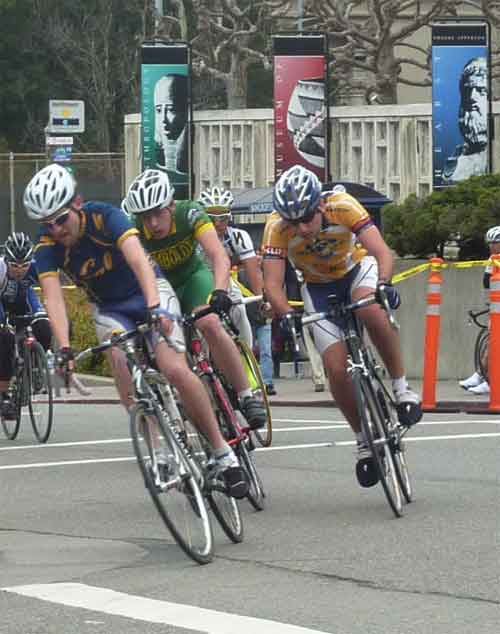 Men cyclists from UC teams and Humboldt State lead the pack around the