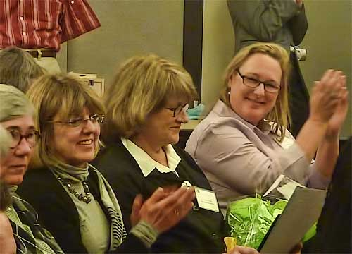 Linda Schacht Gage (center) rejoined the audience and well wishers after receiving her award.
