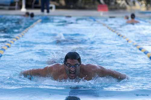 CAL Men's Water Polo Team swims in support of ballot Measure C -- a bond measure to save, rehab and improve Berkeley's city pools