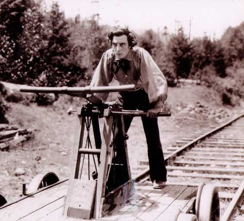 Buster Keaton as Johnnie Gray, an engineer determined to reclaim his locomotive from the Union soldiers who stole it, in the great silent comedy <i>The General.</i>
