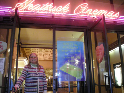 Shattuck Cinemas manager Nancy Klubben opens the doors in time for Tuesday's matinee.