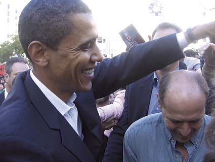Sen. Barack Obama greets supporters in Oakland. Photograph by Riya Bhattacharjee.