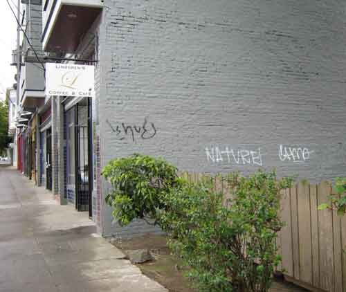 Over recent years, the three-story brick Mission Revival-style building had taken on a scruffy look with vacant, empty windows marked with unsightly tangles of basic-black spray-paint. The western wall of the abandoned storefront, however, was covered with a colorful pastiche of lettering and art.