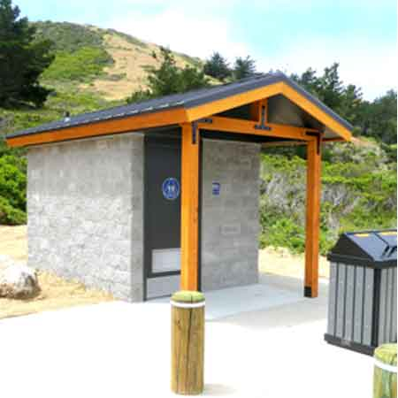 This unit was installed by the National Park Service in Pacifica in June, 2016. It features flush toilet, waterless urinal and sink for handwashing. ADA compliant and solar powered, it cost $50,000 installed.