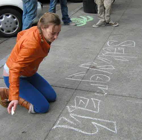 "Recently, in broad daylight, a team of graffiti chalkers appeared in front of the Venus restaurant on Shattuck Avenue and inscribed the Sanskrit word ""Satyagraha"" -- in honor of Mahatma Gandhi's philosophy of nonviolent resistance."
