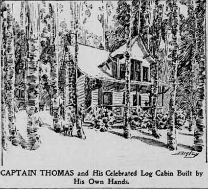 Captain Thomas's log cabin was a museum filled with Civil War mementos.