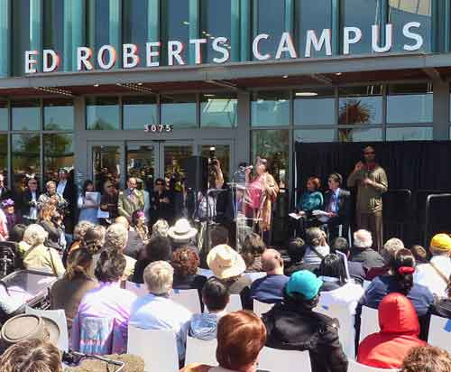 Zona Roberts spoke to the crowd in front of the new building named for her son, disability rights activist Ed Roberts.