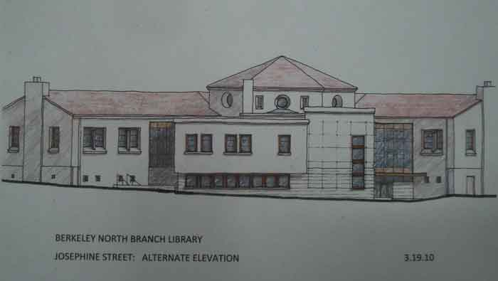Commissioners were given this drawing showing the proposed rear addition to the North Berkeley Branch Library.  The addition is in the center.  The row of low, square, windows would open into the ground level community room.  The vertical stack of four, square, windows on the right would open into a new stairwell.  The large panels of glass to left and right of the new addition would be curtain walls connecting the addition to the original building.