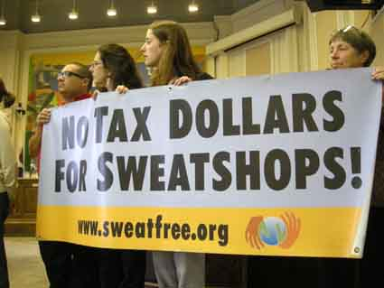 Activists and garment workers from Central America urged the city to adopt a sweatshop-free ordinance at a Tuesday press conference at Old City Hall.