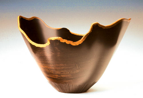 A wooden bowl by Bob Stocksdale in the Berkeley Art Center exhibit.