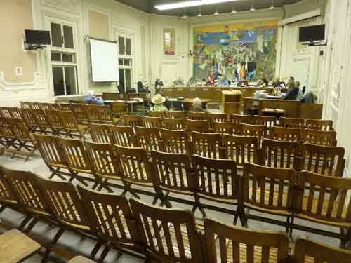Near the end of the meeting the Commission discussed the Downtown Plan in front of a sea of empty chairs, and just four members of the public.