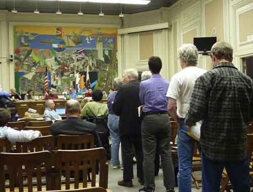 Citizens line up to speak during the Southside Plan Public Hearing.  Most offered specific criticisms of the draft document.  The Planning Commission majority adopted a single one of the recommendations of the public hearing speakers.