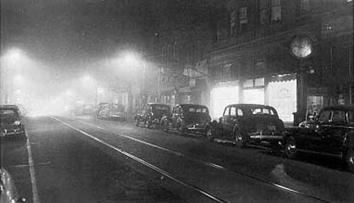By 1048, the pollution over Donora was so bad that streetlights had to be turned on in the middle of the day.