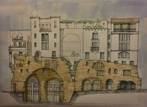 "This concept drawing by the office of architect Kirk Peterson shows the new proposal for a six story ""La Fortalenza"" building on the old Berkeley Inn site at Haste and Telegraph.   Seen from the south (Haste Street frontage) the building would have two lower levels with an irregular, rocky, character, topped by a Moorish-style apartment building."